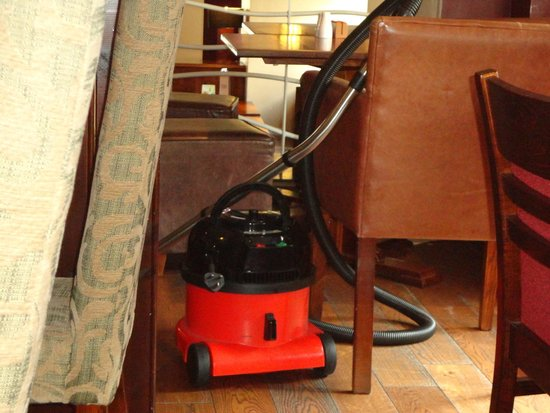 Monachty: ate breakfast next to vacuum that was left out