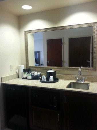 Hampton Inn & Suites Newark-Harrison-Riverwalk: Well-lit bar in room