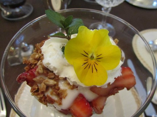 Mornington Rose Bed and Breakfast: Fruit parfait with home-made granola and yogurt and edible garnish