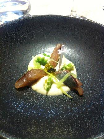 El Club Allard: Sardina ahumada con crema de apio-nabo y manzana