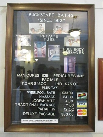 Buckstaff Bathhouse: menu board/prices