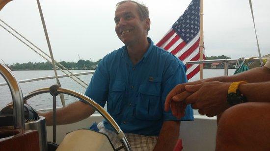 Sail Wilmington NC: Doug at the helm