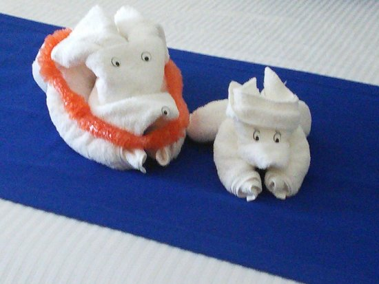 White Sands Oceanfront Resort & Spa: Towel babies to greet us!