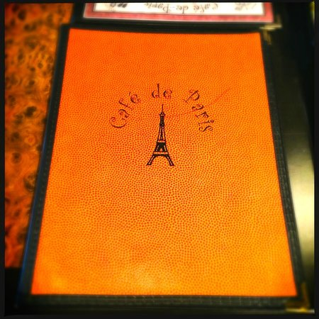 Cafe de Paris: The menu