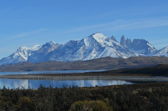 "View of the ""towers"" (in the background) in Torres del Paine National Park."
