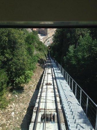 Montserrat Monastery : funicular track leading to the top of Monstserrat