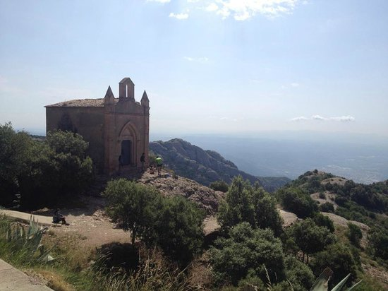 Montserrat Monastery : view of the St. Joan monument from the top of Monstserrat