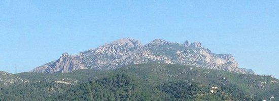 Montserrat Monastery : Montserrat mountain view from Barcelona