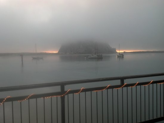 Galley Seafood Grill & Bar: Morro Rock at Sunset in Fog