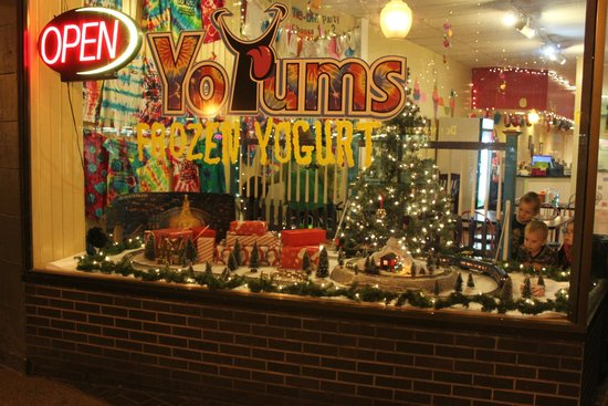 Yo Yums Frozen Yogurt decorated for Christmas