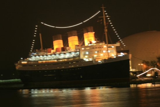 The Queen Mary Ship At Night
