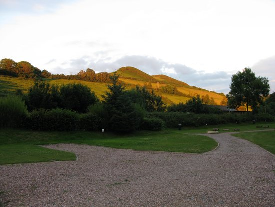 Hele Valley Holiday Park: view from campsite in evening light