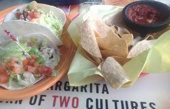 Fred's Mexican Cafe : Fish Tacos & w/generous Complimentary portions of Fresh Chips & Salsa