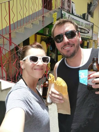 Peat Taylor Tours : In Ocho Rios eating meat pies and drinking Red Stripe.