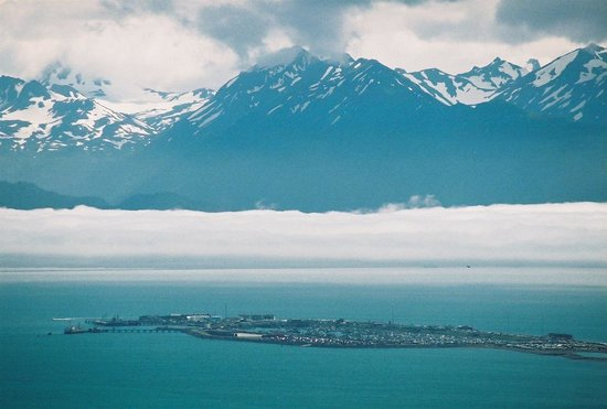 Land's End Resort : View of Homer Spit from Skyline Dr.