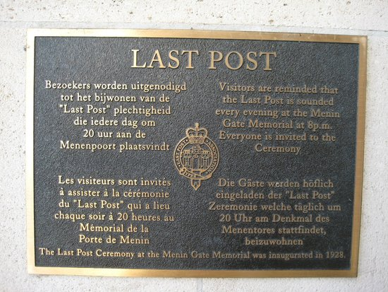 Menin Gate Memorial : Last Post information