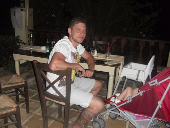 Zepos Restaurant: My husband having good night at Zepos