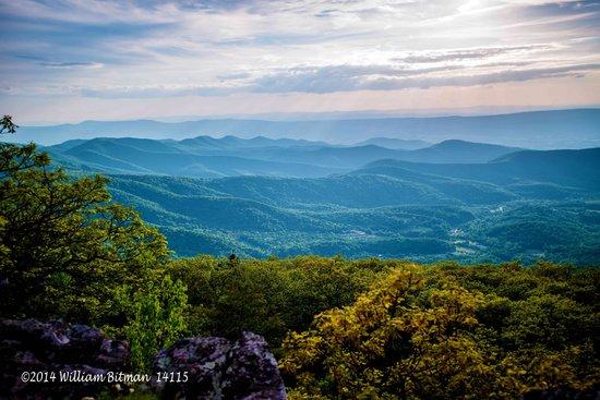 Appalachian mountains along Skyline Drive on a misty day.