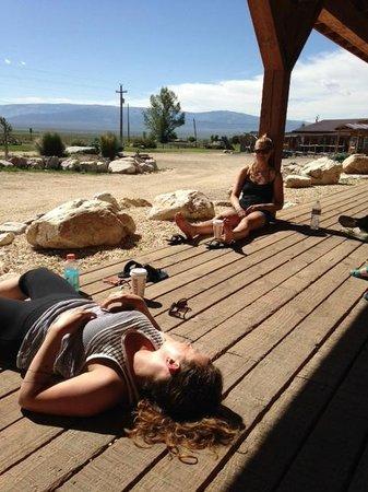Almo Inn: my girls sunbathing in the front