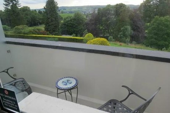 Castle Green Hotel in Kendal, BW Premier Collection: The small balcony with two chairs, coffee stand and view
