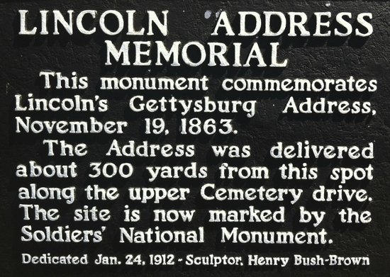 Gettysburg National Cemetery: The plaque marking the memorial