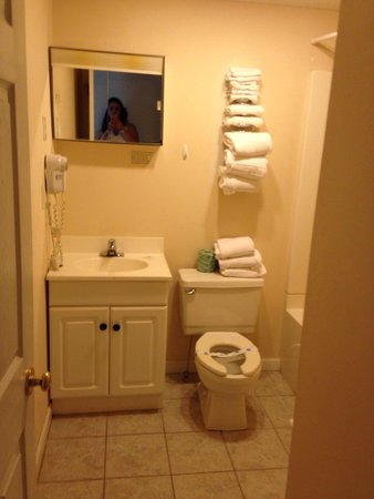 Highland Hills Motel & Cabins : Bathroom no towel racks