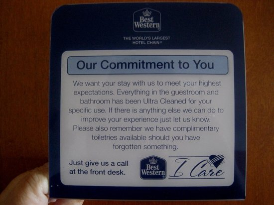 Best Western De Anza Inn: Commitment to Cleanliness