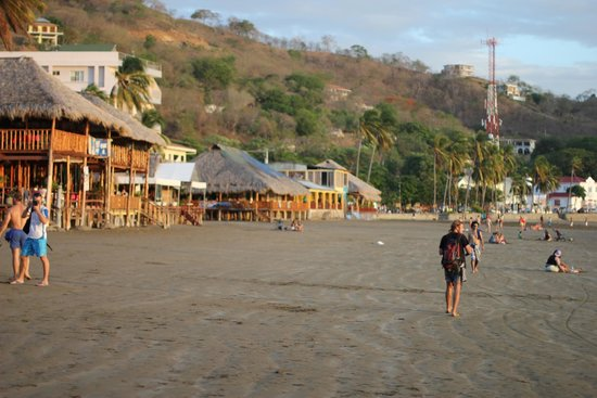 San Juan del Sur Beach: restaurants lining the beach