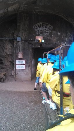 Queen Mine Tours: Riding the train in to the mine! The train stops after a half mile or so. Definitely not a walki