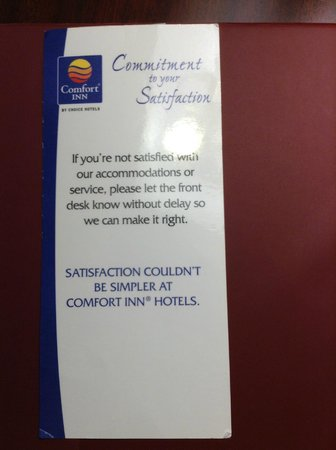 Comfort Inn & Suites Seattle: Suposto interesse na satisfacão do cliente