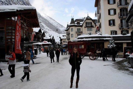 Hotel Matterhorn Focus: My wife in downtown Zermatt