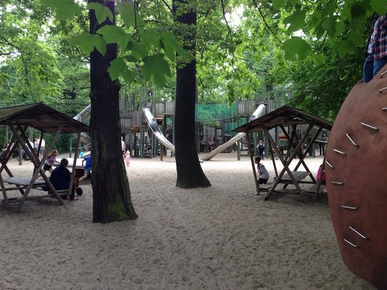 Berlin Zoological Garden : Bigger kids play area with 3 major structures which has a trampoline in each. Also stainless ste
