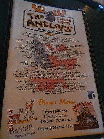 The Antlers Restaurant: menu