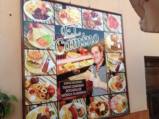 Bar El Camino: menu