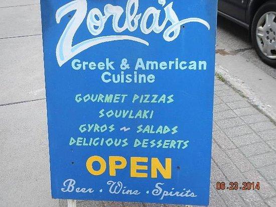 Zorba's: signage