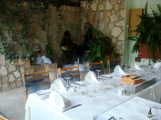 Zaza: The water feature makes for nice relaxing dining