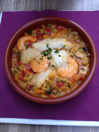 Cote Jardin : ratatouille with shrimps and white fish