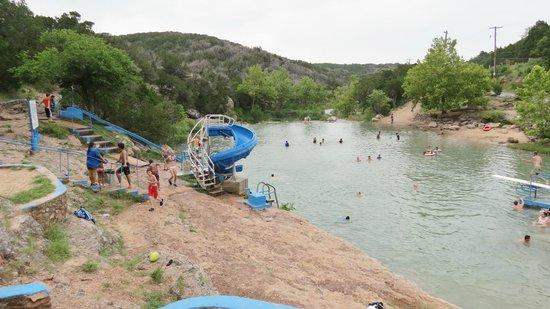 Turner Falls Park : slides in Blue Hole Pool (kids love that)