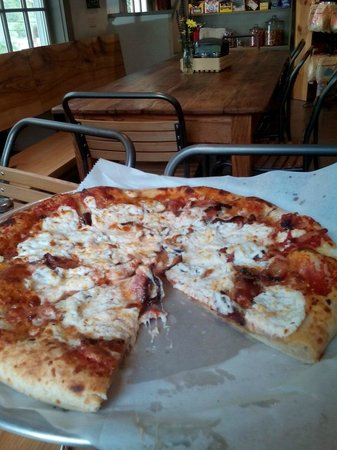 J. J. Hapgood General Store and Eatery: My goat cheese and bacon pizza.