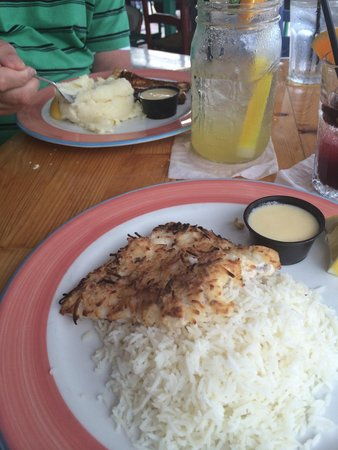 Morada Bay: Coconut crusted Mahi Mahi with the coconut rice!!!! I am dreaming of it now! It was the BEST eve