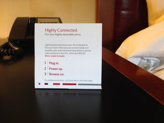 New York Marriott East Side : Sign on desk urging a wired connection
