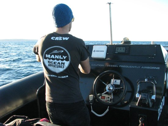 Manly Ocean Adventures: Skipper Blake constantly scanning for whales + radio checks