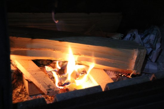 Log Cabin Wilderness Lodge: Toasty fire to keep the cabin warm all night.