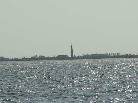 Texas City Dike: The view of Port Bolivar from the dike.
