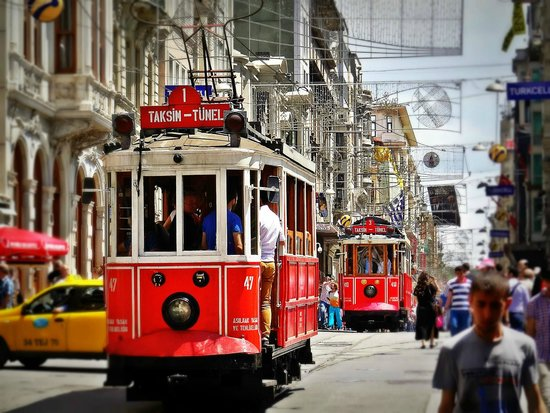 Istanbul Custom Tours-Private Day Tours : Old trolley cars on Istiklal Street