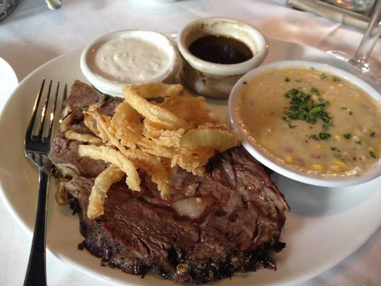 Ray's on the River : Prime rib with creamed summer corn