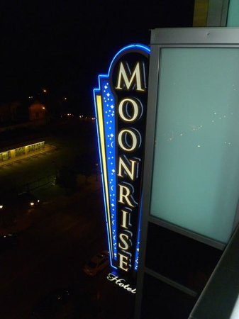 The Moonrise Hotel sign