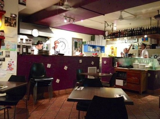 Il Forno Restaurant: Inside view from window seat (that's the lady who owns it)