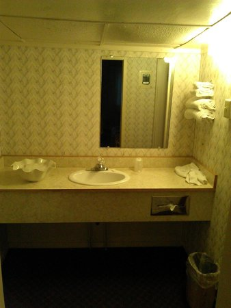 East Glacier Motel & Cabins: Bathroom counter area was spacious, but ceiling is low.