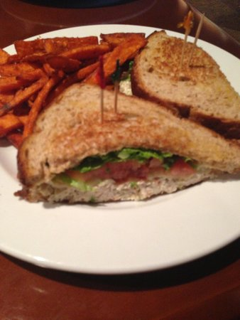 Aubrey's Restaurant: Chicken salad club with sweet potato fries